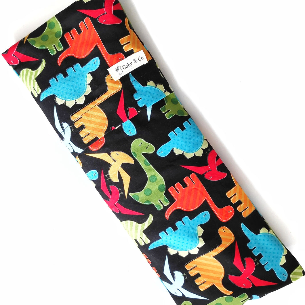 Dinos on Black Beansprout Husk Pillow