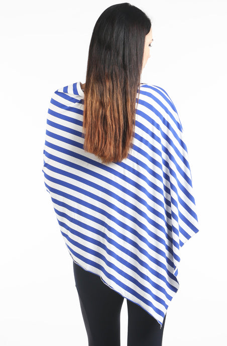 Blue & White Stripes Nursing Poncho