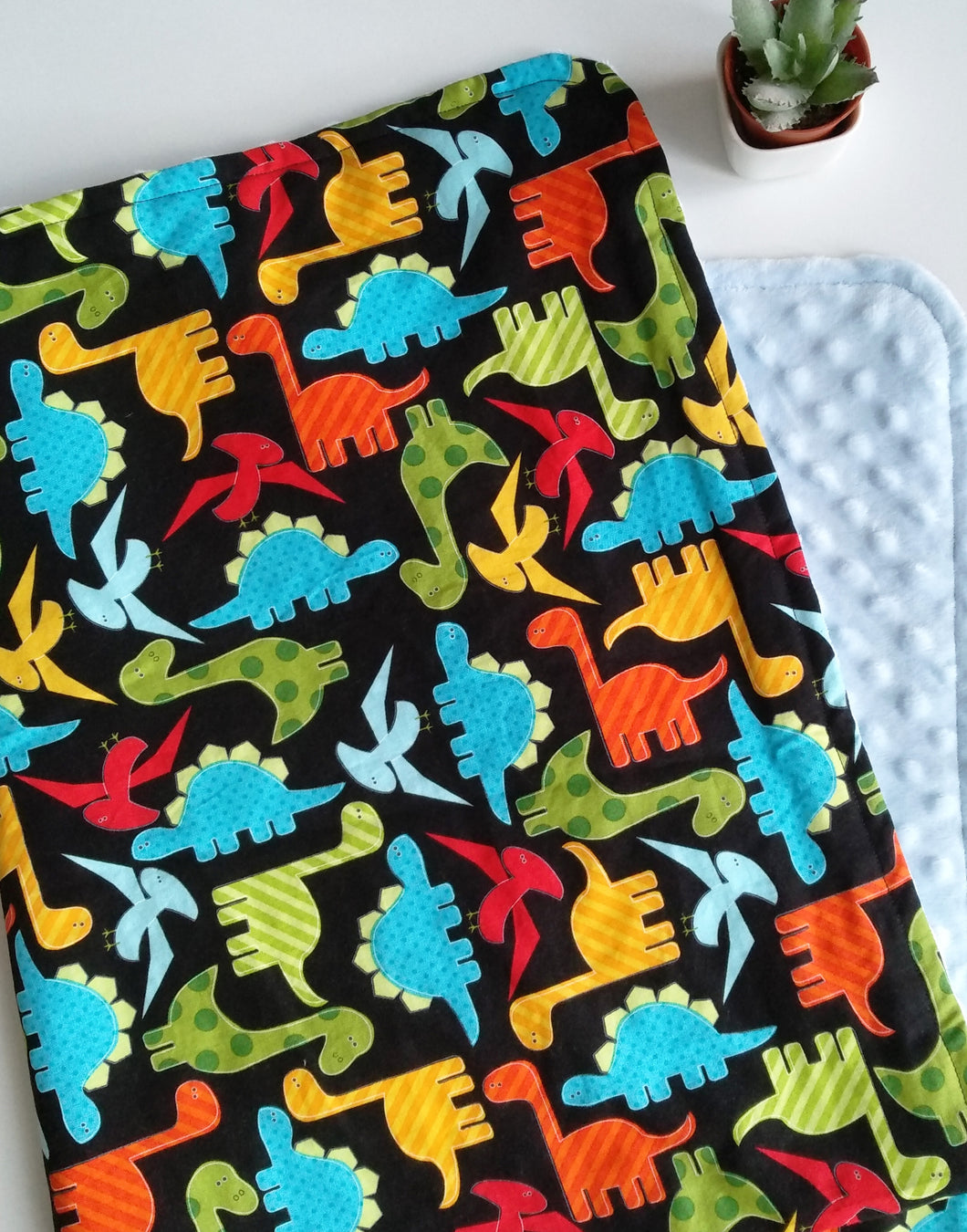Dinos on Black Cloud Blanket