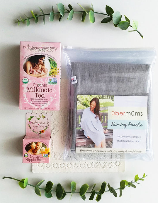 Earth Mama Angel Baby Breastfeeding Tea + Nipple Cream + Nursing Poncho Gift Set