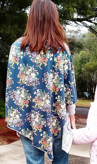 Iris Blue Floral Nursing Poncho (Cotton Spandex)