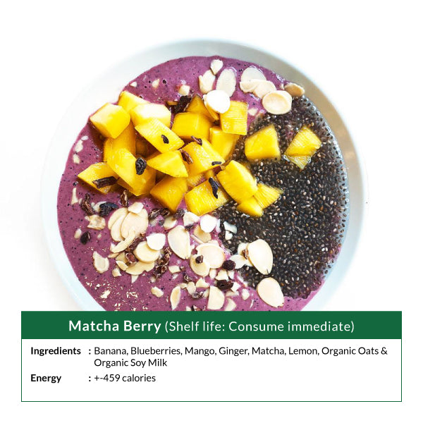Matcha Berry Smoothie Bowl (Shelf life: Consume immediate)