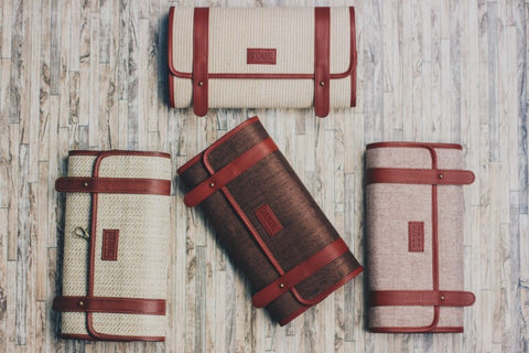 Trendy travel pouches using Jute Khadi material