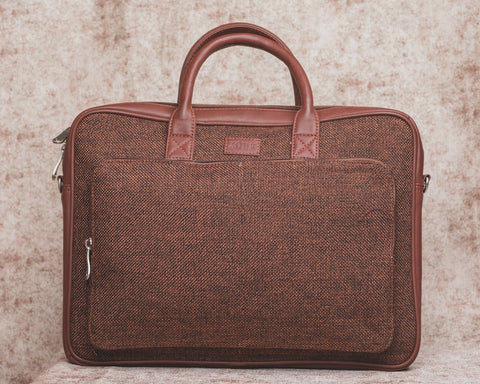 Zouk Brown Metal Laptop Bag
