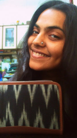 Nupur with the Zouk Ikat Wave wallet