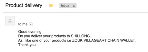 Zouk product enquiry from Shillong