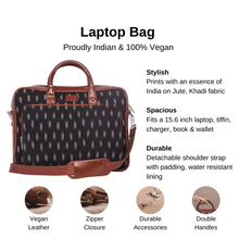 Load image into Gallery viewer, Ikat Black Dash Laptop Bag