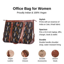 Load image into Gallery viewer, Zouk Ikat CliYel Women's Office Bag - Details of the product, product specification