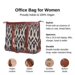 Zouk Grey Black Animal Print Women's Office Bag - Details of the product, product specification