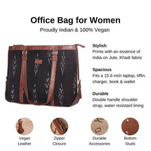 Load image into Gallery viewer, Zouk Ikat Peacock Feather Women's Office Bag - Details of the product, product specification