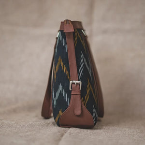 Ikat Brown Wave - Women's Office Bag & Chain Wallet Combo