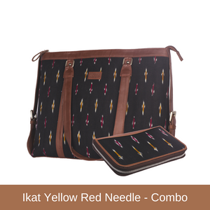 Ikat Yellow Red Needle - Women's Office Bag & Chain Wallet Combo