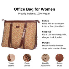 Load image into Gallery viewer, Zouk Beige Petal Motif Women's Office Bag - Details of the product, product specification