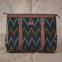 Load image into Gallery viewer, Ikat Brown Wave - Women's Office Bag & Chain Wallet Combo