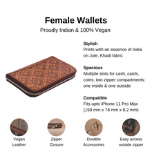 Load image into Gallery viewer, Brown Floral Motif Chain Wallet