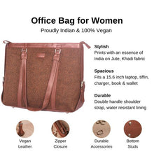 Load image into Gallery viewer, Zouk Brown Metal Women's Office Bag - Details of the product, product specification