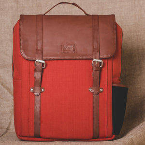 Zouk Rust Brown Canvas Backpack
