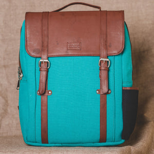 Zouk Sea Blue Canvas Backpack
