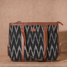 Load image into Gallery viewer, Ikat Black ZigZag Women's Office Bag