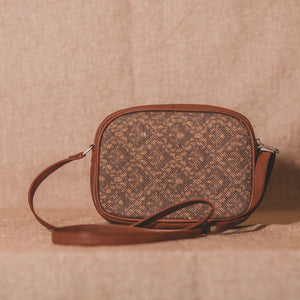 Zouk Brown Floral Motif Sling Bag