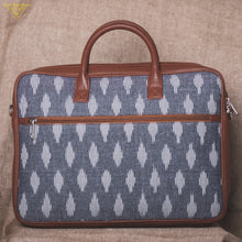 Load image into Gallery viewer, Ikat Striped Grey Laptop Bag - back