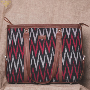 Zouk MaroWave Women's Office Bag - Front View, Maroon and black color bag