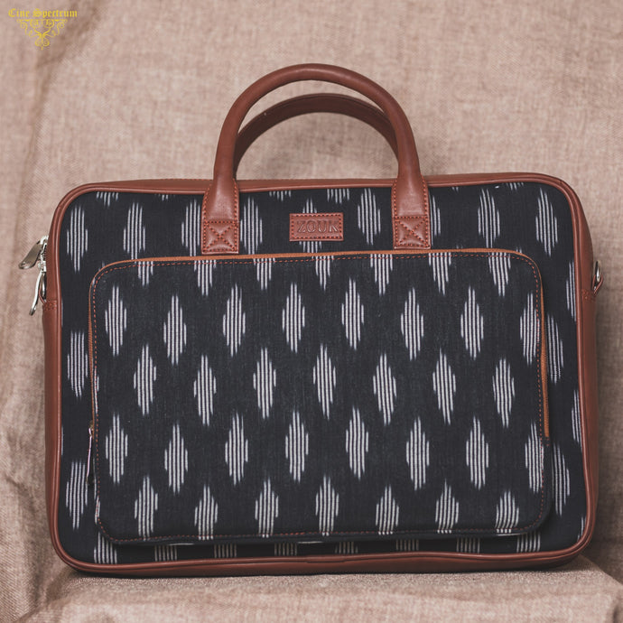 Ikat Striped Black Laptop Bag