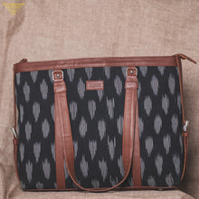 Load image into Gallery viewer, Ikat Striped Black Women's Office Bag