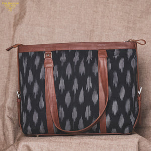 Ikat Striped Black Women's Office Bag