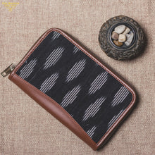 Zouk Ikat Striped Black Chain Wallet - Front View