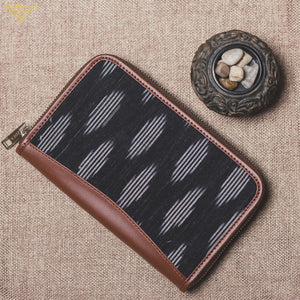 Ikat Striped Black Chain Wallet