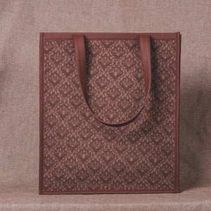 Brown Floral Motif - Tote Bag