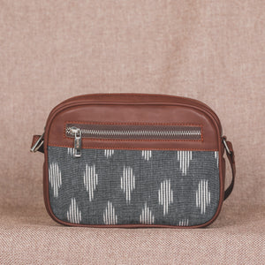 Zouk Ikat Grey Striped Sling Bag
