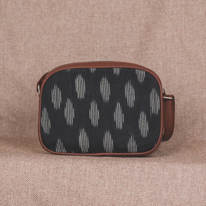 Zouk Ikat Black Striped Sling Bag