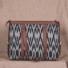 Load image into Gallery viewer, Ikat Grey Black Animal Print Women's Office Bag