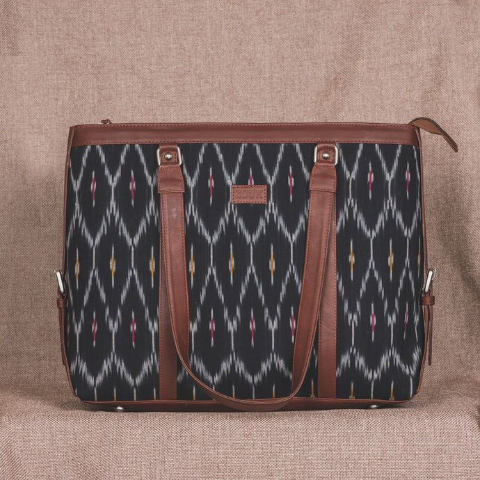 Ikat Black Multi Maze Women's Office Bag