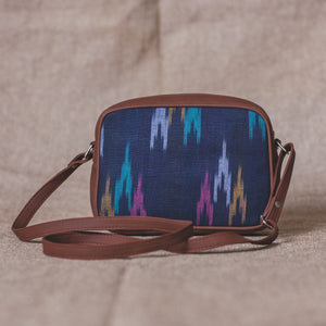 Blue Multi Strip Sling Bag