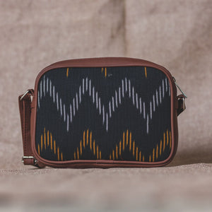 Ikat Brown Wave Sling Bag