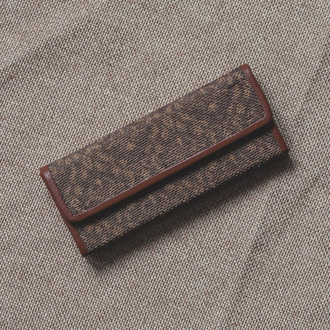 Brown Floral Motif  - Foldaway Eyewear Sunglasses Case