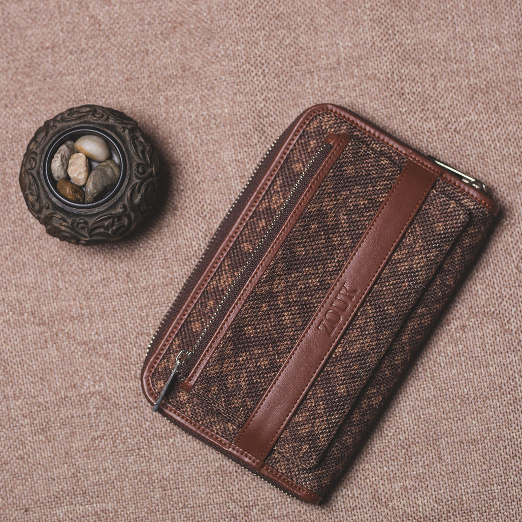 Classic Zipper Wallet - Brown Floral Motif