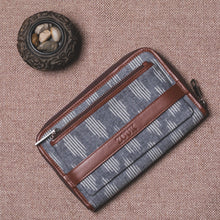 Load image into Gallery viewer, Classic Zipper Wallet - Ikat Striped Grey