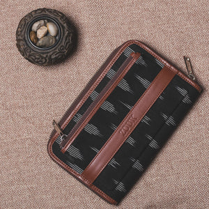 Classic Zipper Wallet - Ikat Striped Black