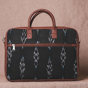 Ikat Peacock Feather Laptop Bag - Back