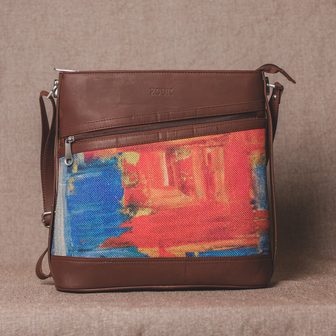 Zouk Abstract Amaze Bucket or Sling Bag - Front View