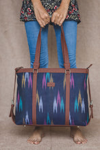 Load image into Gallery viewer, Blue Multi Strip Women's Office Bag