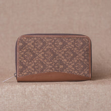 Load image into Gallery viewer, Zouk Brown Floral Motif Chain Wallet - Front View