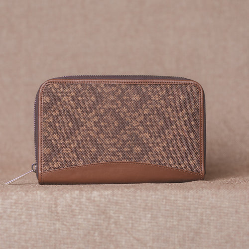 Zouk Brown Floral Motif Chain Wallet - Front View