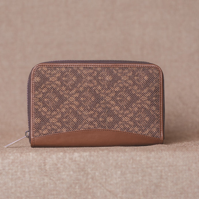 Brown Floral Motif Chain Wallet