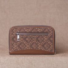 Load image into Gallery viewer, Zouk Brown Floral Motif Chain Wallet - Back View
