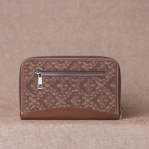 Zouk Brown Floral Motif Chain Wallet - Back View